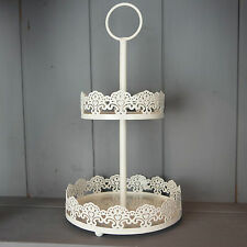 Cream Round 2 Tier Metal Jewellery Stand & Tray Earring Necklace Trinket Holder