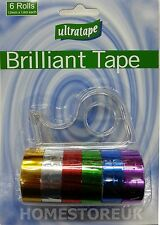 6 ROLLS & DISPENSER GIFT PACK PACKING SHINY TAPE DECORATION XMAS ART CRAFT 4529