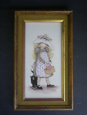 """Mid Century ORIGINAL PAINTING """"Holly Hobbie"""" CAT with Girl PERIOD FRAME"""