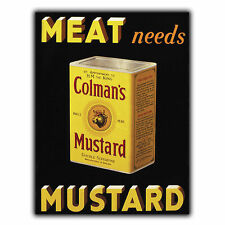COLMAN'S MUSTARD METAL SIGN WALL PLAQUE Vintage Retro Kitchen Advert Decor Print