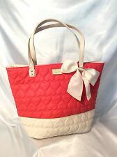 BETSEY JOHNSON PURSE BE MINE HANDBAG QUILTED PURSE TOTE HEARTS CORAL