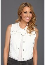 NWT DKNY Denim White Cropped Studded Vest Jacket PS $90