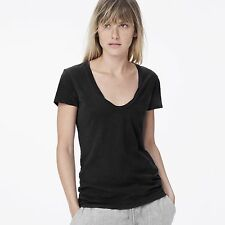 NWT JAMES PERSE Sz3(M/L) HIGH GAUGE DEEP V CAP SLEEVE JERSEY TEE BLACK $95
