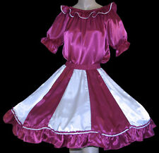 FUCHSIA & WHITE SQUARE DANCE OUTFIT SKIRT, BLOUSE SZ M/L