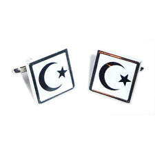 Black & White Islamic Flag Cufflinks & Gift Pouch Islam Religion Present New