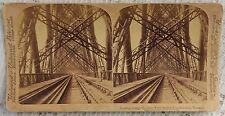 VINTAGE STEREOVIEW PHOTOGRAPH - LOOKING THROUGH THE GREAT FORTH BRIDGE SCOTLAND