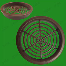 6x Brown Roof Soffit Round Air Vents Eaves Grille 60mm Hole Push Fit Ventilation