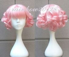 Pink Cute Lolita Curly Wavy Short Anime Cosplay Wig