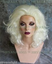 White Lots of Volume Medium Length Drag/Mens  Style Wig