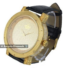 mens diamond gold 50 mm clubbing ice out case watch leather dlx Gift Box Maxx