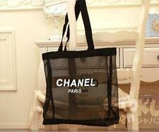 CHANEL (Black) Large Transparent Mesh Shopping Bag Beach Bag Vip Gifts