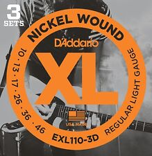 ~ 3 Sets D'Addario EXL110 Nickel Light Electric Guitar Strings - 10-46  ~