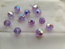 144 Swarovski #5000 10mm Crystal Violet AB Faceted Round Beads Factory Pack