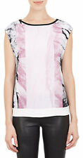 NWT $395 Helmut Lang Mason Marble Print Crepe Top Rind Pink P XS