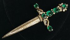 Rare Vintage Trifari Alfred Philippe Sword Brooch Pin~Glass/Crystal RS/Gold Tone