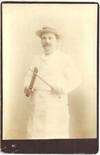 Cabinet Photo of a Butcher with His Knife and Sharpening Steel Rod c1900