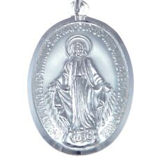 "MENS LARGE POLISHED STERLING SILVER MIRACULOUS MARY MEDAL NECKLACE & 20"" CHAIN"