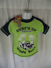 BNWT Boys Sz 2 Cute Navy/Fluro Lime Wiggles Print Licenced Swimming Rash Vest