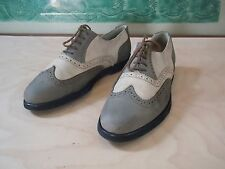 Design Studio Made in Italy Suede Mens Dress Wing Tips Shoes Cream /Grey 9 1/2D