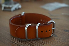 22mm Genuine Leather NATO Strap round buckle - Brown - Free Postage