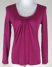 *NEW* TALBOTS Petites L/S Pima Cotton Knit Top, Silver Beads-Sz MP, Burgundy