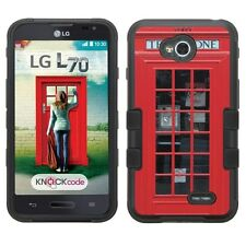 For LG Ultimate 2 Case Hybrid Skin Armor Phone Cover-(BK)London Phone Booth