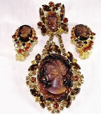 Vtg JULIANA Tiger Striped DANGLE CAMEO~Topaz Rhinestone BROOCH Pin EARRING Set