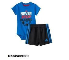 "Baby Boy Adidas ""Never Stop Playing "" Tee & Shorts Set Size 9 Months NWT"