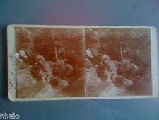 STC226 Fontainebleau Foret personnage stereoview photo STEREO ancien vintage