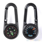 Multifunctional Hiking Metal Carabiner Mini Compass Thermometer Keychain BB4U