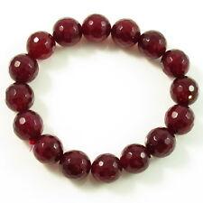 Fashion REAL GARNET BRACELET handmade Adjustable gemstone Bangle bead DARK RED