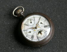 ANTIQUE EUROPEAN TRIPLE DATE MOON PHASE POCKET WATCH