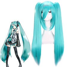 Vocaloid Hatsune Miku Blue Long Straight Hair Cosplay Wigs + Two Ponytails