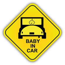 "Baby In Car Warning Sign Car Bumper Sticker Decal 5"" x 5"""
