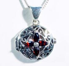 Garnet Filigree Locket Pendant  Sterling Silver