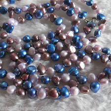 "52"" 5-6mm Pink Blue Purple Baroque Freshwater Pearl Necklace B"