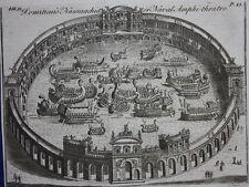 Original antique print ROME, DOMITIAN'S NAUMACHIA, NAVAL AMPHITHEATRE, 1748