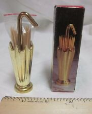 """Vtg Brass Umbrella TOOTHPICK Holder Made in Taiwan 3.5"""" Tall New Old Stock W Box"""