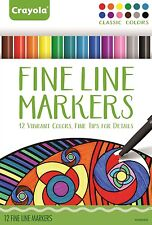 Crayola Adult Colouring Markers - Fine Line Markers - Classic Colours - 12 pack