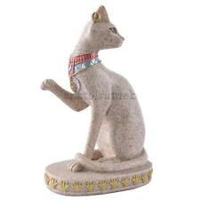 Sitting Ancient Egyptian Mau Cat Goddess Deity Sandstone Statue Figurine