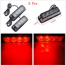 2x Red 4LED Car SUV 4x4 Warning Hazard Emergency 16 Flash Modes Strobe Light Bar