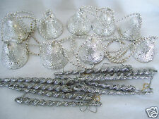 Silver Bells Christmas Garland Holiday Tree Decor & Bonus Ornaments Decoration