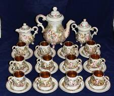 Mid-Modern, R. Capodimonte, 30 pc.Tea Set w/Gold Lined Demitasse Cups & Saucers