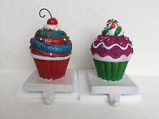 NEW S/2 CUPCAKE STOCKING HOLDER XMAS PEPPERMINT CANDY GINGERBREAD THEMED GIFT