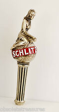 Vtg SCHLITZ Golden Classic Beer Draught Tap Handle -Woman on Globe in Toga