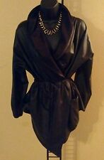 Women's Black Faux Leather Elastic Waist Wrap Tie Kimono Style Jacket w/Hood S