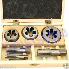 "6 PC 1/4"" 3/8"" 1/2"" INCH STEEL TAP & AND DIE TOOL THREADER THREAD KIT FOR PIPE"