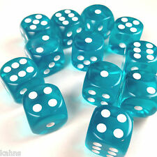 Chessex Dice Block d6 12 pcs 16mm - Translucent Teal w/ White - 23615 FREE BAG
