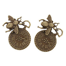 12x New Sale Alloy Insect Clock Charms Antique Bronze Findings Pendants Crafts L