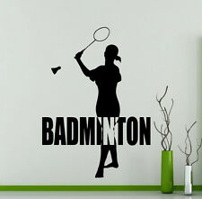 Badminton Wall Decal Word Logo Sports Player Vinyl Sticker Art Mural (96ex)